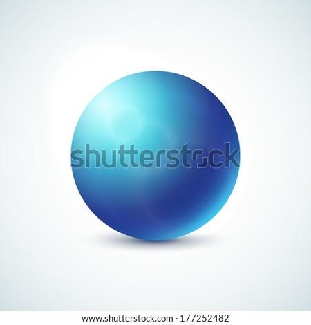 Blue glossy sphere logo isolated on white, vector illustration for your design - stock vector