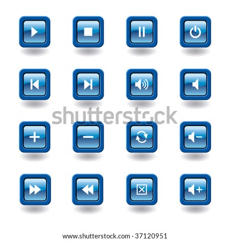 blue glossy square multimedia icons / buttons - easy to edit - stock vector