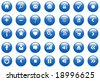 Blue Glossy Vector Icon / Button Set for Web - stock vector