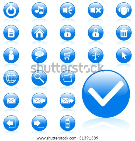 Blue glossy vector media icon set