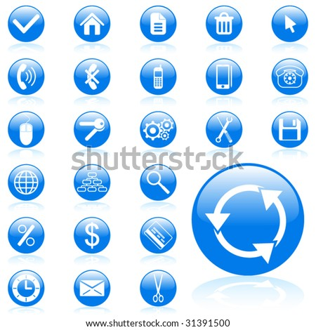 Blue glossy vector web icon set