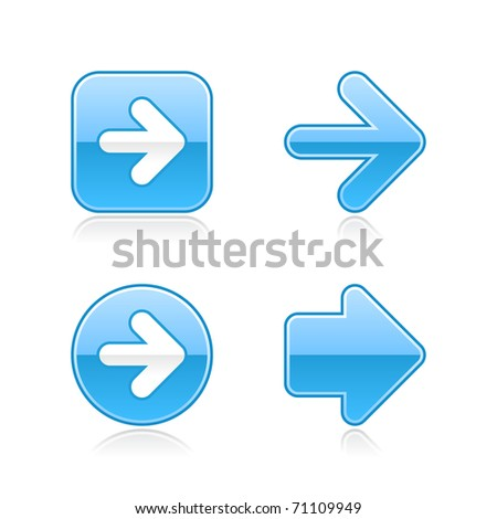 Blue glossy web 2.0 arrow button with gray reflection on white