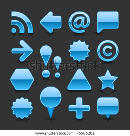 Blue glossy web button set with black shadow and dark reflection on gray background - stock vector