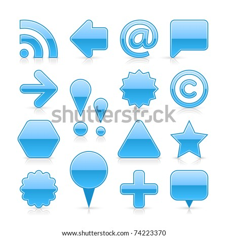 Blue glossy web button set with shadow and reflection on white - stock vector