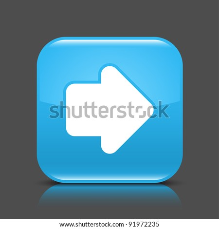 Blue glossy web button with arrow right sign. Rounded square shape icon with black shadow and colored reflection on dark gray background. This vector illustration created and saved in 8 eps - stock vector