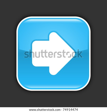 Blue glossy web 2.0 button with arrow sign. Rounded square with drop shadow on gray. 10 eps - stock vector