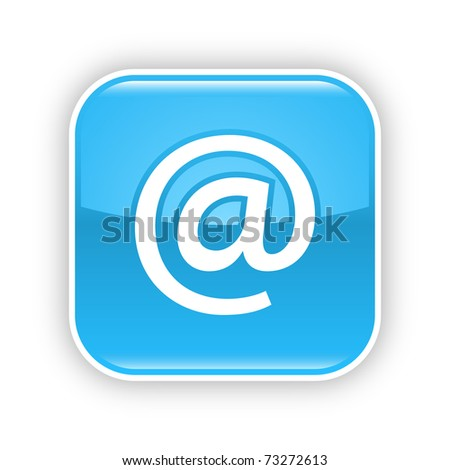 Blue glossy web 2.0 button with at sign. Rounded square sticker with shadow on white. 10 eps - stock vector
