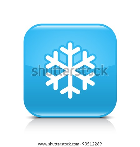 Blue glossy web button with low temperature sign snowflake symbol. Rounded square shape icon with black shadow and gray reflection on white background. This vector illustration saved in 8 eps - stock vector