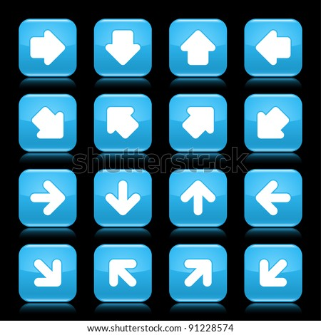 Blue glossy web button with white arrow sign. Rounded square shape internet icon with reflection on black background. This vector illustration saved in 8 eps