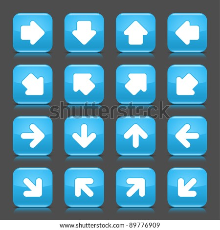 Blue glossy web button with white arrow sign. Rounded square shape internet icon with shadow and reflection on dark grey background. This vector illustration saved in 8 eps