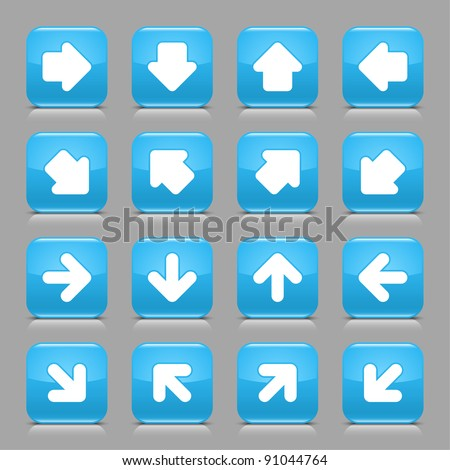Blue glossy web button with white arrow sign. Rounded square shape internet icon with shadow and reflection on light gray background. This vector illustration created and saved in 8 eps