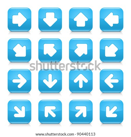 Blue glossy web internet button with white arrow sign. Rounded square shape icon with shadow and reflection on white background. This vector illustration saved in 8 eps