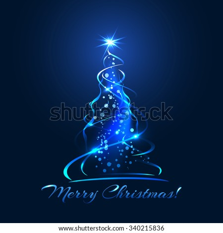 Blue glow xmas tree, elegant abstract christmas tree illustration - stock vector