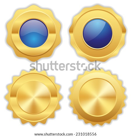Blue gold badge collection on white background - stock vector