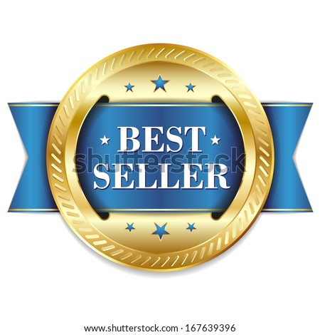 Blue gold best seller badge with ribbon - stock vector