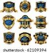 Blue gold framed labels - stock vector