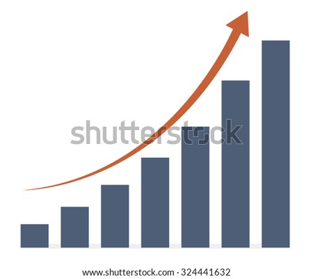 blue graph and red arrow on white background, for business. vector