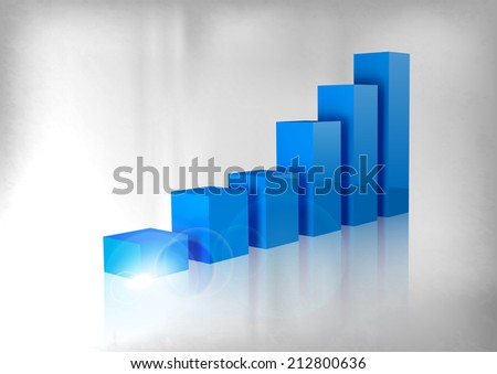 Blue graph up. Vector business layout. - stock vector