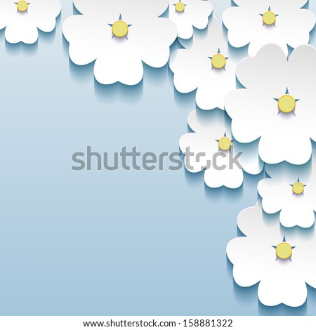 Blue - gray floral abstract beautiful background, 3d cut paper flowers sakura. Stylish trendy vector background. Vector illustration - stock vector