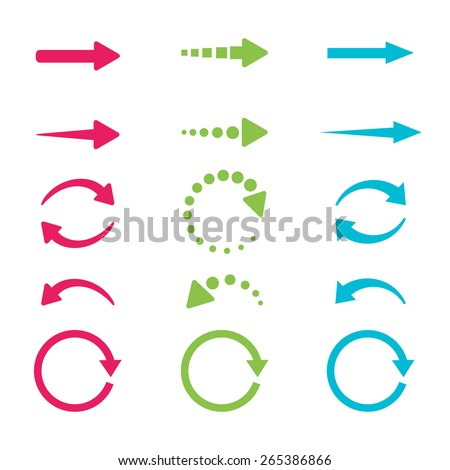 Blue, green and pink arrows set on white background. Vector illustration. - stock vector