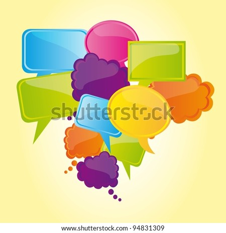 Blue green and yellow bubbles, Vector Illustration - stock vector