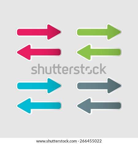 Blue, green, grey and pink arrow set. Vector illustration. - stock vector