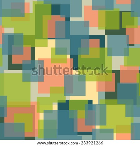 blue, green, pink, yellow transparent squares seamless pattern - stock vector