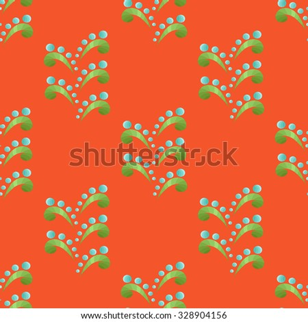 Blue-Green Seamless Floral Pattern in Ethnic Style on the Orange Background - stock vector
