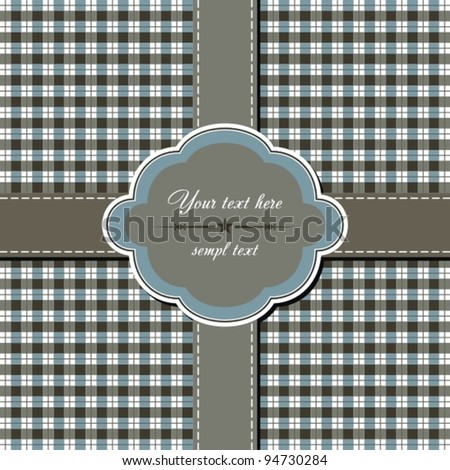 Blue greeting card with bow. Vector.