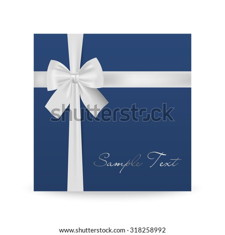 Blue greeting card with white bow isolated on white. Vector EPS10 illustration.   - stock vector