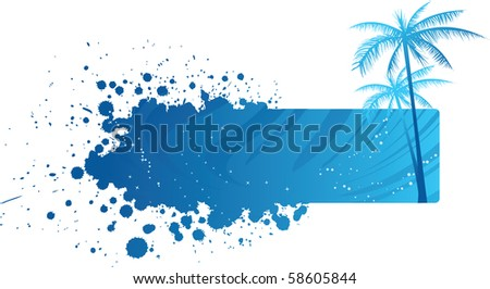 Blue grunge banner with palm trees - stock vector