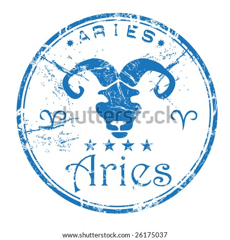 Blue grunge rubber office stamp with the Aries symbol from the zodiac - stock vector