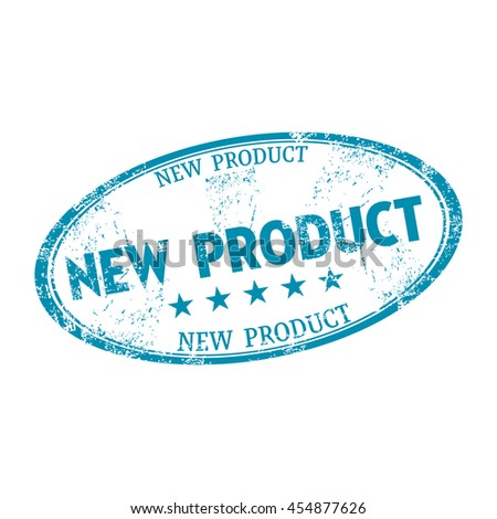 Blue grunge rubber oval stamp with the text new product written on the stamp