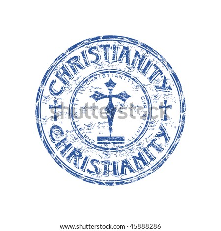 Blue grunge rubber stamp with cross symbols and the word Christianity written inside the stamp - stock vector