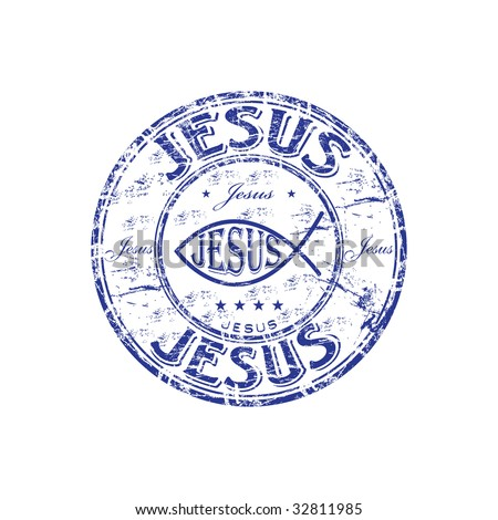 Blue grunge rubber stamp with Jesus fish symbol - stock vector