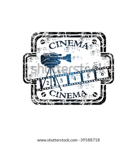 Blue grunge rubber stamp with numbered filmstrip, movie camera shape and the word cinema written inside the stamp - stock vector