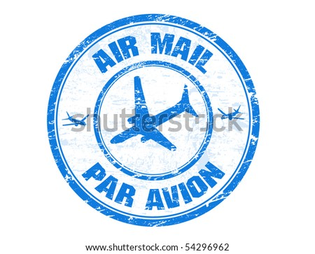 Blue grunge rubber stamp with plane shape and the text air mail, par avion written inside the stamp - stock vector
