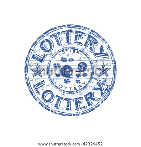 Blue grunge rubber stamp with small clovers, lottery balls and the text lottery written inside the stamp - stock vector