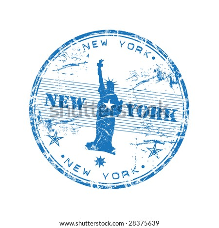 Blue grunge rubber stamp with the Statue of Liberty and the name New York written inside the stamp