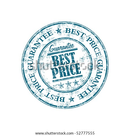 Blue grunge rubber stamp, with the text best price guarantee written inside the stamp