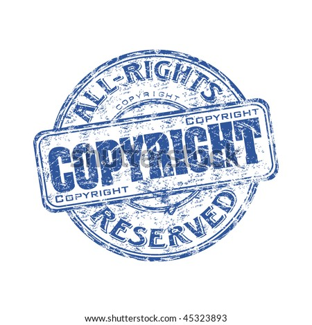 Blue grunge rubber stamp with the text copyright all rights reserved written inside the stamp - stock vector