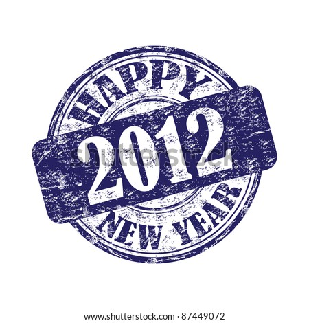 Blue grunge rubber stamp with the text 2012 Happy New Year written on the stamp - stock vector