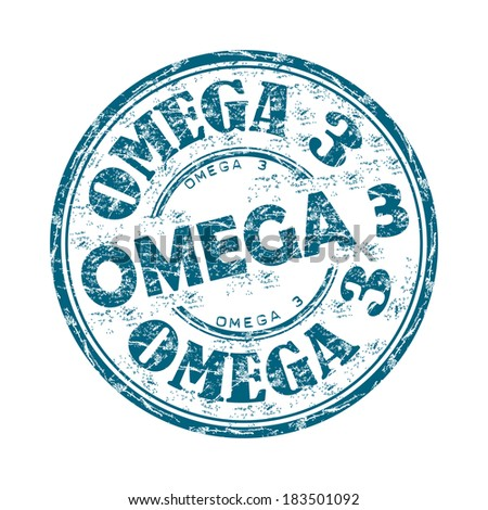 Blue grunge rubber stamp with the text Omega three written inside the stamp