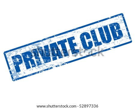 Blue grunge rubber stamp with the text private club written inside
