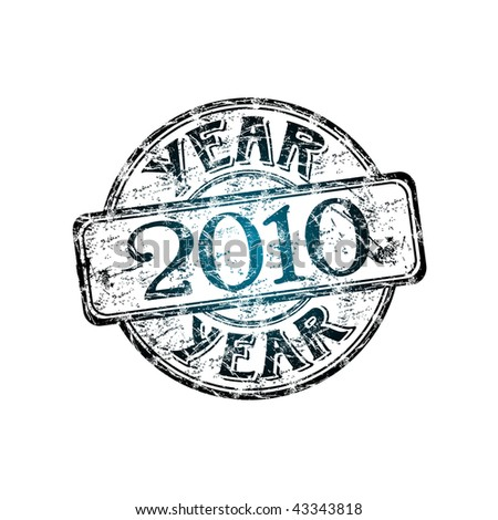 Blue grunge rubber stamp with the text year 2010 written inside the stamp