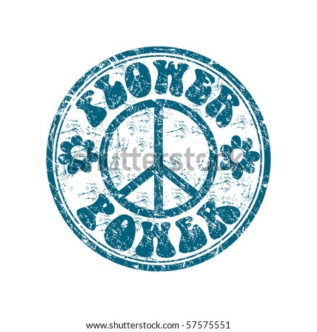 Blue grunge rubber stamp with two flower shapes, the hippie sign and the text flower power written inside the stamp - stock vector