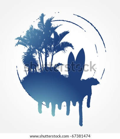 blue grunge surf circle with palms and table - stock vector