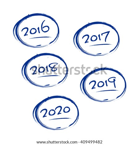 Blue grungy frames with 2016-2020 years signs - isolated on white background. Vector illustration. - stock vector