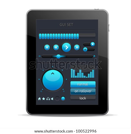 Blue GUI elements for Tablet - stock vector