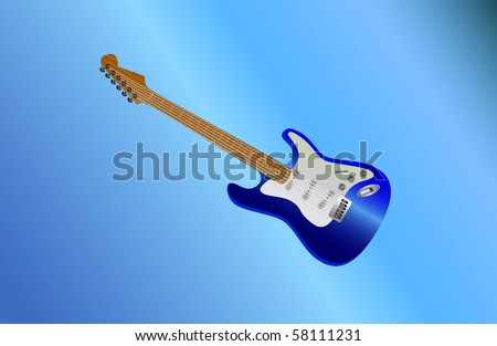 blue guitar lying ( background on separate layer ) - stock vector